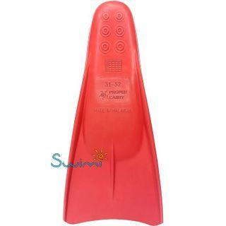 Ласты детские укороченные тренировочные Propercarry Junior, размер - 39-40, цвет - красный, 100% натуральный каучук, рис. 2 - Swimi - интернет магазин
