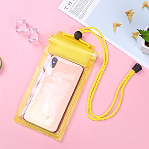 Герметичный непромокаемый чехол для телефона , цвет - жёлтый, ПВХ, рис. 1 - Swimi - интернет магазин