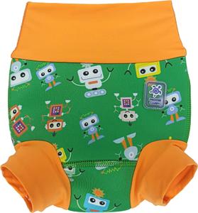 Детский многоразовый подгузник Propercarry неопреновый, 1-1,5 года, размер - L, 74-80 см, вес ребенка - от 10 до 12 кг, принт - Роботы на зеленом - артикул: SN1903-002L + Ласты детские грудничковые Propercarry, рис. 1 - Swimi - интернет магазин