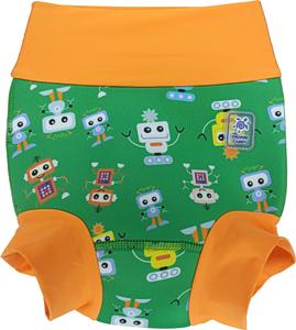 Детский многоразовый подгузник Propercarry неопреновый, 1,5 - 2 года, размер - XL, 86-92 см, вес ребенка - от 12 до 14 кг, принт - Роботы на зеленом - артикул: SN1903-002XL + Ласты детские грудничковые Propercarry, рис. 1 - Swimi - интернет магазин