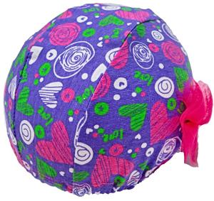Шапочка для плавания грудничковая ЧудоТрусики СЕРДЦЕ В МЕЧТАХ С РОЗОВЫМ ФАТИНОВЫМ БАНТОМ, материал - хлопок 100%, цвет - лазурный